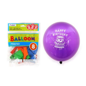 Flomo BL844 30cm . Happy Birthday Printed Balloons - 8 Count, Case of 36
