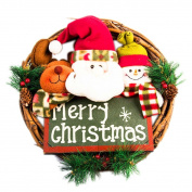Binmer(TM)Luxury Merry Christmas Party RED Poinsettia Pine Wreath Door Wall Decoration