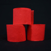 Quasimoon Red Crepe Paper Streamer Party Decorations (60m Total, 3 Pack) by PaperLanternStore