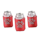 Cool Fun 13653920 Foam Paw Print Bling Red Can Covers - 6 Pieces