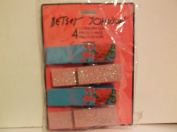 4 Piece Decorative Clothespins *Pink Glitter & Blue Flower*