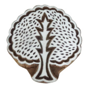 Tree Design Wooden Block Indian Collage Printing Block Traditional Christmas Gift 1pc