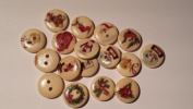 20 Beautiful Assorted Painted Christmas Wood Buttons, 1.6cm Button Crafts Scrapbook