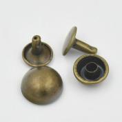 """250 Pcs 1/4"""" 6mm Double Domed Cap Stud Rivet Button Snap Bronze For Bag Clothes Bracelet"""