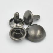 """250 Pcs 1/4"""" 6mm Double Domed Cap Stud Rivet Button Snap Nickle-Black For Bag Clothes Bracelet"""