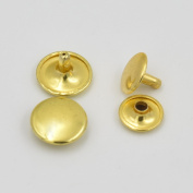 "One Tool + 100 Pcss 1/4"" 6mm Double Round Cap Stud Rivet Button Snap Gold"