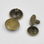 "One Tool + 100 Pcs 1/4"" 6mm Double Round Cap Stud Rivet Button Snap Bronze"