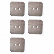 Mibo Real Coconut Brown Square Shape 2 Hole 38 mm Button 5-Pack
