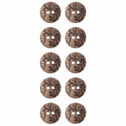 Mibo ABS Metal Plated Floral Design 2 Hole Button Assorted Size & Colour Packs Antique Gold 15 mm 10-Pack