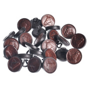 Mibo 15 mm Embossed Horse Head Genuine Leather Antique Shank Button Bulk 25-Pack