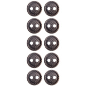 Mibo Nylon Button Woven Texture Antique Gold Finish 2 Hole Button 6 or 10 Pack 22 mm 10 Pack