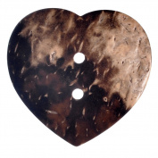Mibo Real Coconut 2 Hole 35 mm Brown Heart Shape Button 5-Pack