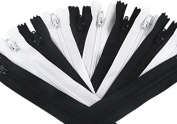YAKA 60pcs Black & White Nylon Coil Zippers Tailor Sewing Tools Garment Accessories 23cm