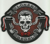 Loner Rebel Skull Motorcycle Biker embroidered patch 10.5 x 9cm