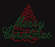 Merry Christmas #2 Rhinestone Iron on T Shirt Transfer