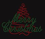 Merry Christmas #2 Rhinestone Iron on T Shirt Transfer