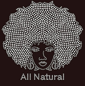 All Natural Afro Girl Rhinestone Iron on T Shirt Transfer