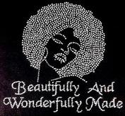 Beautifully and Wonderfully Made Afro Lady Rhinestone Iron on T Shirt Transfer
