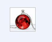 Bloody Full Moon Pendant Full Moon Necklace Full Moon Pendant Galaxy Space Glass Bezel Art Photo