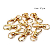 BRCbeads TOP Quality Gold Plated Lobster Claw Swivel Clasps 32mm 20pcs per Bag for Key Ring