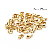 BRCbeads TOP Quality 10mm Gold Plated Jewellery Lobster Claw Clasp Findings 100pcs per Bag for Jewelery Making