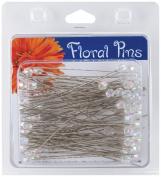 Darice 100-Piece Pearl Flower Pins, 7.6cm by 6ml