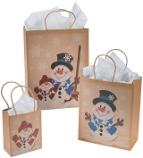 12 Paper Snowman Kraft Gift Bags - Assorted Sizes - Christmas Gift Bags