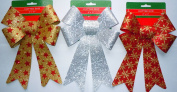Glitter Christmas Bows 15cm x 25cm - 3 Large Bows Each with a Different Style