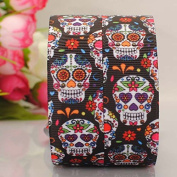 "10 Yards 7/8"" Inch 22mm favourable Halloween Skull 2015 Cartoon Printed Gift Grosgrain Ribbon"