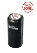LolliZ Well Done in. Round Self-Inking Teacher Stamp With Lid. Red Colour