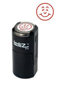 LolliZ Smiley Face 1 Self-Inking Round Teacher Stamp With Lid. Red Colour