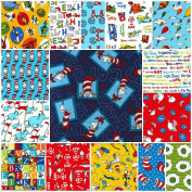 15 DR. SEUSS Fat Quarters Robert Kaufman Precut Fabric Cotton Quilting FQs Assortment Dr Seuss