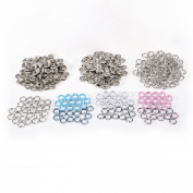 100PCS 9.5mm Prong PRESS STUDS Open Ring No Sew Snaps Buttons Fasteners 4 Colours