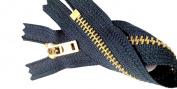 ZipperStop Wholesale Authorised Distributor YKK® Two 18cm Brass Jeans Zipper YKK Number 5 Gold Coloured Metal Teeth Zips with Locking Slider Closed Bottom Colour Navy #560