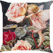 Cushion cover throw pillow case 46cm fairy angel rose flower garden fantasy paradise cute both sides image zipper