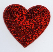 Valentine Large Sequin Heart Iron on Embroidered Patch