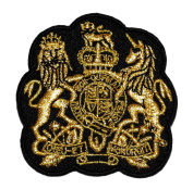 Gold Lace Lion Unicorn Royal Crown Crest Coat of arms DIY Applique Embroidered Sew Iron on Patch COA-003