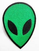 Green Alien Patch Iron on Patch Embroidered Iron on Hat Jacket Hoodie Backpack Ideal for Gift /5.5cm(w) X 7.7cm