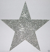 Sliver 3 Fabric Glitter 102mm 4 Inch Star Iron-On Fabric Transfer