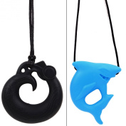 MyBoo Autism/Sensory/Teething Chewable Dragon and Shark Pendant Bundle - Set of 2, Black/Blue