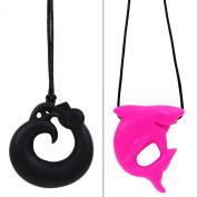 MyBoo Autism/Sensory/Teething Chewable Dragon and Shark Pendant Bundle - Set of 2, Black/Pink