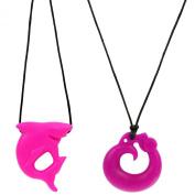 MyBoo Autism/Sensory/Teething Chewable Dragon and Shark Pendant Bundle - Set of 2, Pink