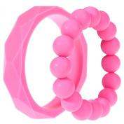 MyBoo Autism/Sensory/Teething Chewable Geometric and Beads Bracelet Bundle - Set of 2, Pink
