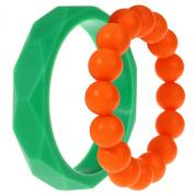 MyBoo Autism/Sensory/Teething Chewable Geometric and Beads Bracelet Bundle - Set of 2, Green/Orange
