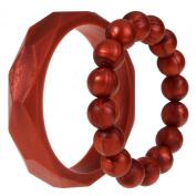 MyBoo Autism/Sensory/Teething Chewable Geometric and Beads Bracelet Bundle - Set of 2, Metallic Red