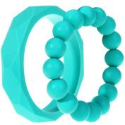 MyBoo Autism/Sensory/Teething Chewable Geometric and Beads Bracelet Bundle - Set of 2, Turquoise