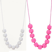 MyBoo Autism/Sensory/Teething Chewable Funky Square Beaded Necklace - Set of 2, White/Pink