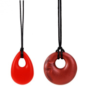 MyBoo Autism/Sensory/Teething Chewable Round and Droplet Pendant Bundle, Set of 2 - Red/Red