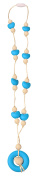 MyBoo Autism/Sensory/Teething Chewable Round and Heart Beaded Necklace - Set of 2, Blue/Pink/White