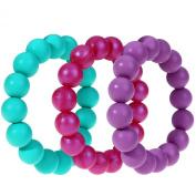 MyBoo Autism/Sensory/Teething Chewable Beads Bracelet - Set of 3, Purple/Turquoise/Magenta